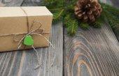Vánoční stromky s dárkový box — Stock fotografie