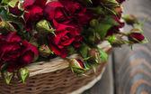 Rosas rojas en canasta — Foto de Stock