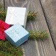Christmas trees with heap of gift boxes — Stock Photo #59575965