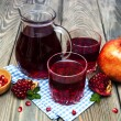 Pitcher and Two glasses of pomegranate juice — Stock Photo #60246997