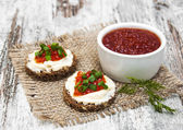 Canape with red caviar — Stock Photo