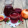 Pitcher and Two glasses of pomegranate juice — Stock Photo #62549401