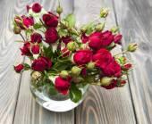 Rosas vermelhas em vaso — Fotografia Stock