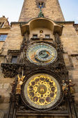 Astronomical clock on old town hall in Prague — Stok fotoğraf