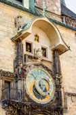 Astronomical clock on old town hall in Prague — Stock Photo