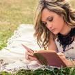 Romantic girl writing in a diary lying down outdoors — Stockfoto #60942569