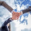 Business team showing unity with hands together — Stock Photo #61275257