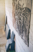 Set of finished modern artworks in artist studio — Stock Photo