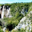 Beautiful landscapes waterfall, rock walls, stunning nature views in National park Plitvice lakes - Plitvička jezera, Croatia — Stock Photo