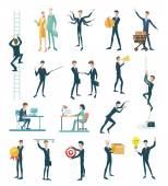 Business peoples, set of icons flat design — Stock Vector
