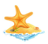Starfish in the sand, vector illustration — Stock Vector