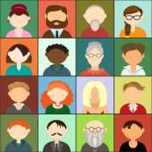 Set of avatars, flat design — Stock Vector