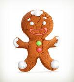 Gingerbread man, vector icon — Vetor de Stock