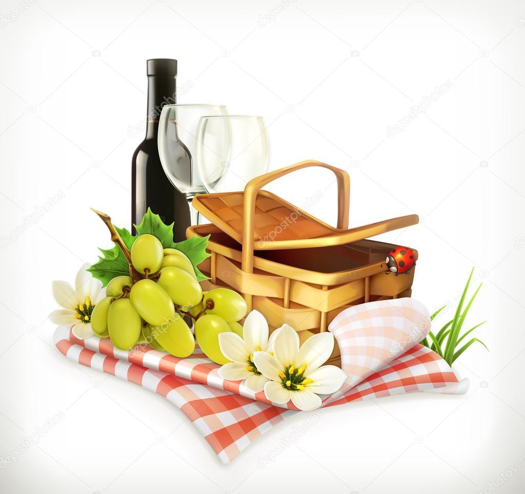 식탁보와 피크닉 바구니, 와인잔과 포도 — 스톡 벡터 © natis76 ...