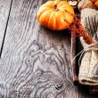 Seasonal table setting with small pumpkins — Stock Photo #51953985