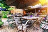 Cafe terrace in small European city — Stock Photo