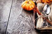 Seasonal table setting with small pumpkins — Foto de Stock