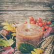 Autumn wreath with candle — Stock Photo #52428707