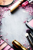 Frame with various makeup products — Foto Stock