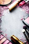 Frame with various makeup products — Stock Photo
