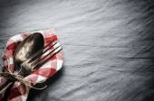 Table with vintage spoon and fork — Stock fotografie