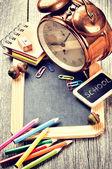 School supplies in retro style — Стоковое фото