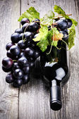 Bottle of red wine with fresh grape — Stockfoto
