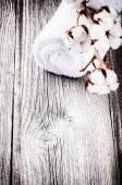 Ripe cotton bolls on bath towel — Stock Photo