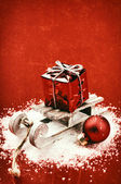 Christmas setting with retro sleigh — Stock Photo