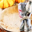 Table setting with decorative pumpkins — Stock Photo #52940885