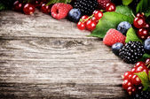 Frame with fresh summer berries — Stock Photo