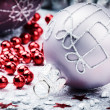 Christmas ornaments in festive setting — Stock Photo #54779741