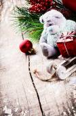Christmas decorations with teddy bear — Stok fotoğraf