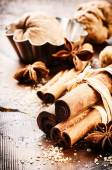 Christmas setting with seasonal spices — Foto de Stock