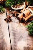 Christmas setting with seasonal spices — Stock Photo