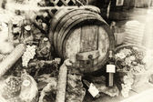 Wine barrel and dried meat assortment — Foto de Stock