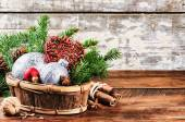 Christmas decorations in vintage style — Stock Photo