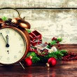 Christmas decorations with vintage alarm clock — Foto Stock #58245395