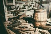 Old hand tools in vintage workshop — Stock Photo