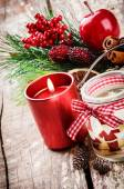 Christmas decorations with various candles — Stock Photo