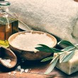 Spa setting with natural olive soap — Stock Photo #59250557