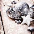 Christmas ornaments in silver tone — Stock Photo #59250583