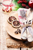 Christmas table setting in rustic style — Stockfoto