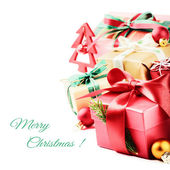 Christmas setting with colorful presents — Foto de Stock