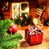 Christmas setting with festive gift box — Foto de Stock