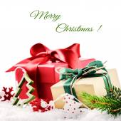 Christmas setting with colorful presents — Stock Photo