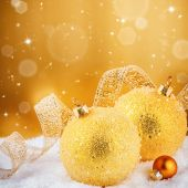 Christmas ornaments in golden tone — Stock Photo