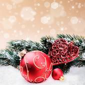 Christmas ornaments in red and green tone — Foto Stock
