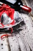 St Valentine's table setting with present — Stock Photo