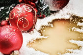 Christmas ornaments in red tone — Stock Photo